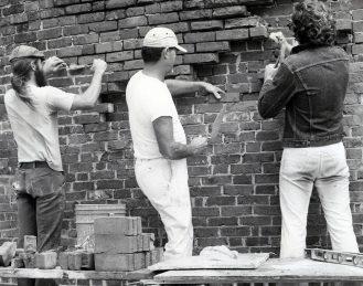 Workers Repair Fort Martello's Brick